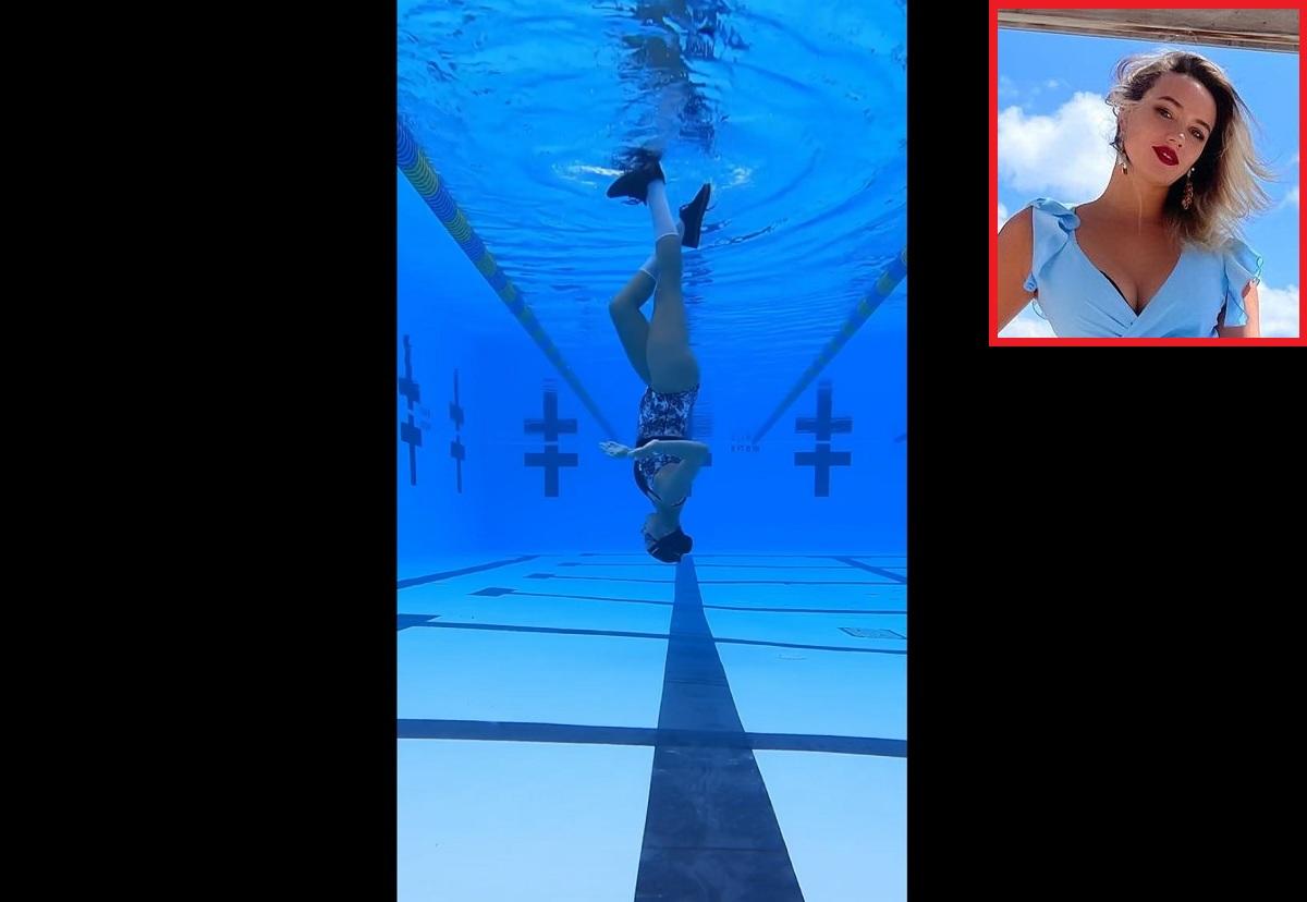 Nadadora faz sucesso na web com moonwalk invertido