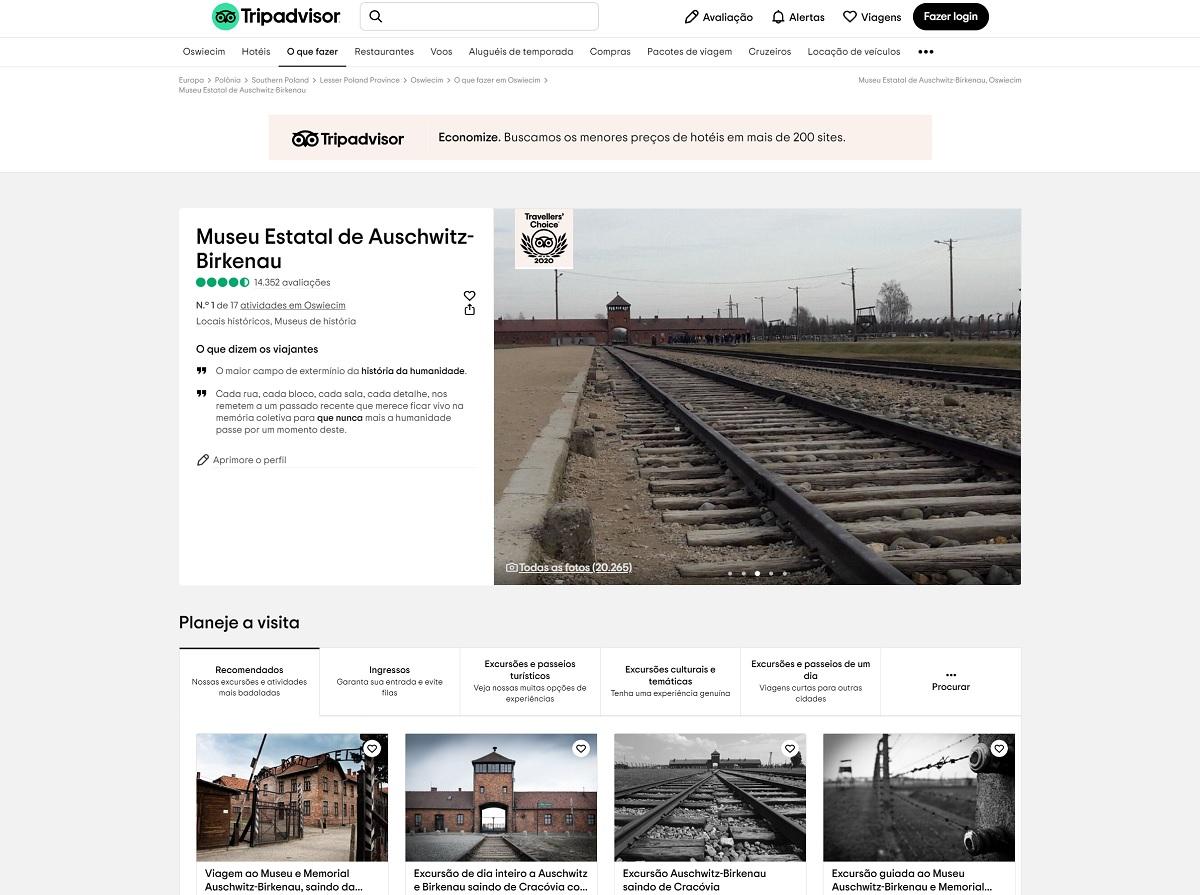 TripAdvisor causa revolta com comentário intolerante na página do Museu de Auschwitz