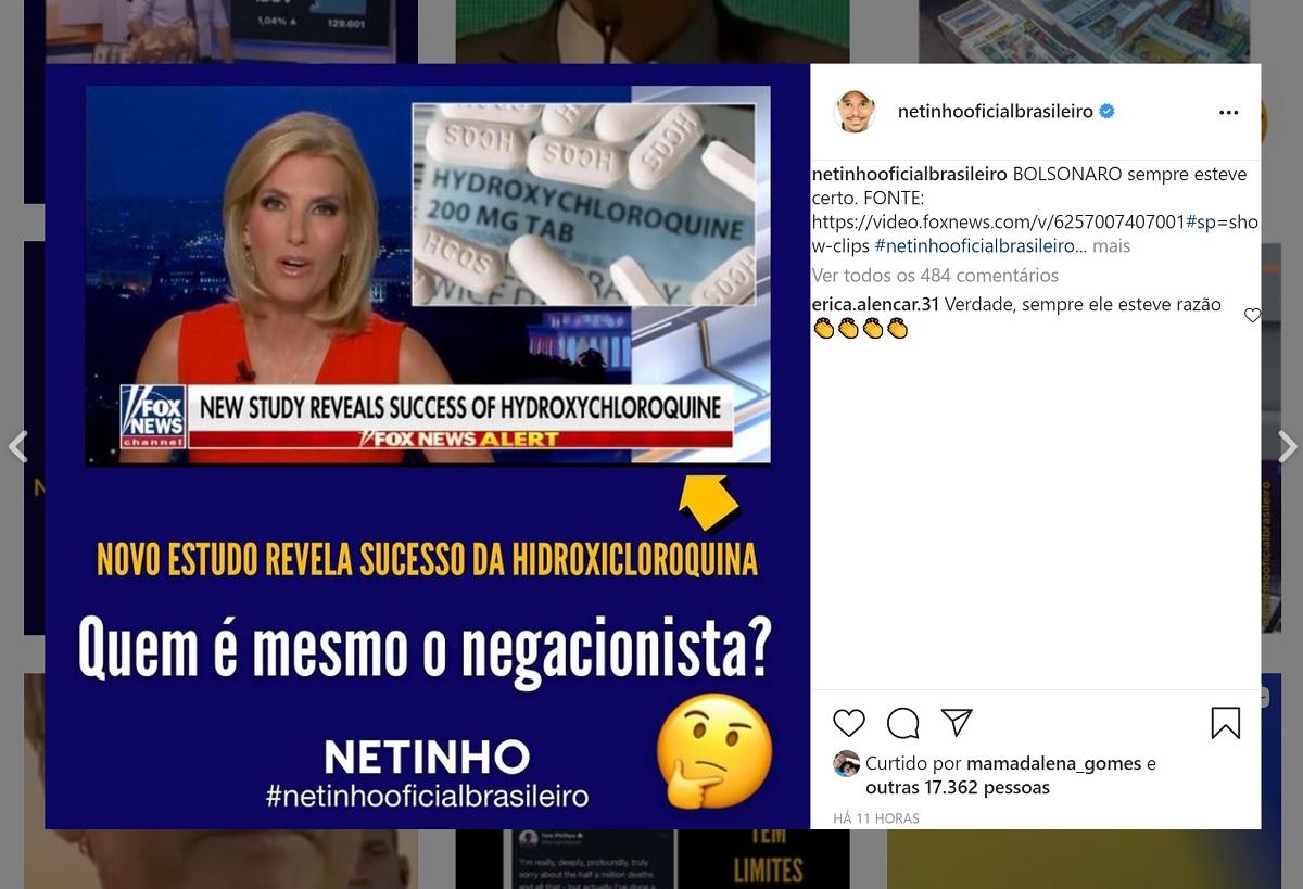 Entenda o estudo sobre hidroxicloroquina citado pelo cantor Netinho no Instagram