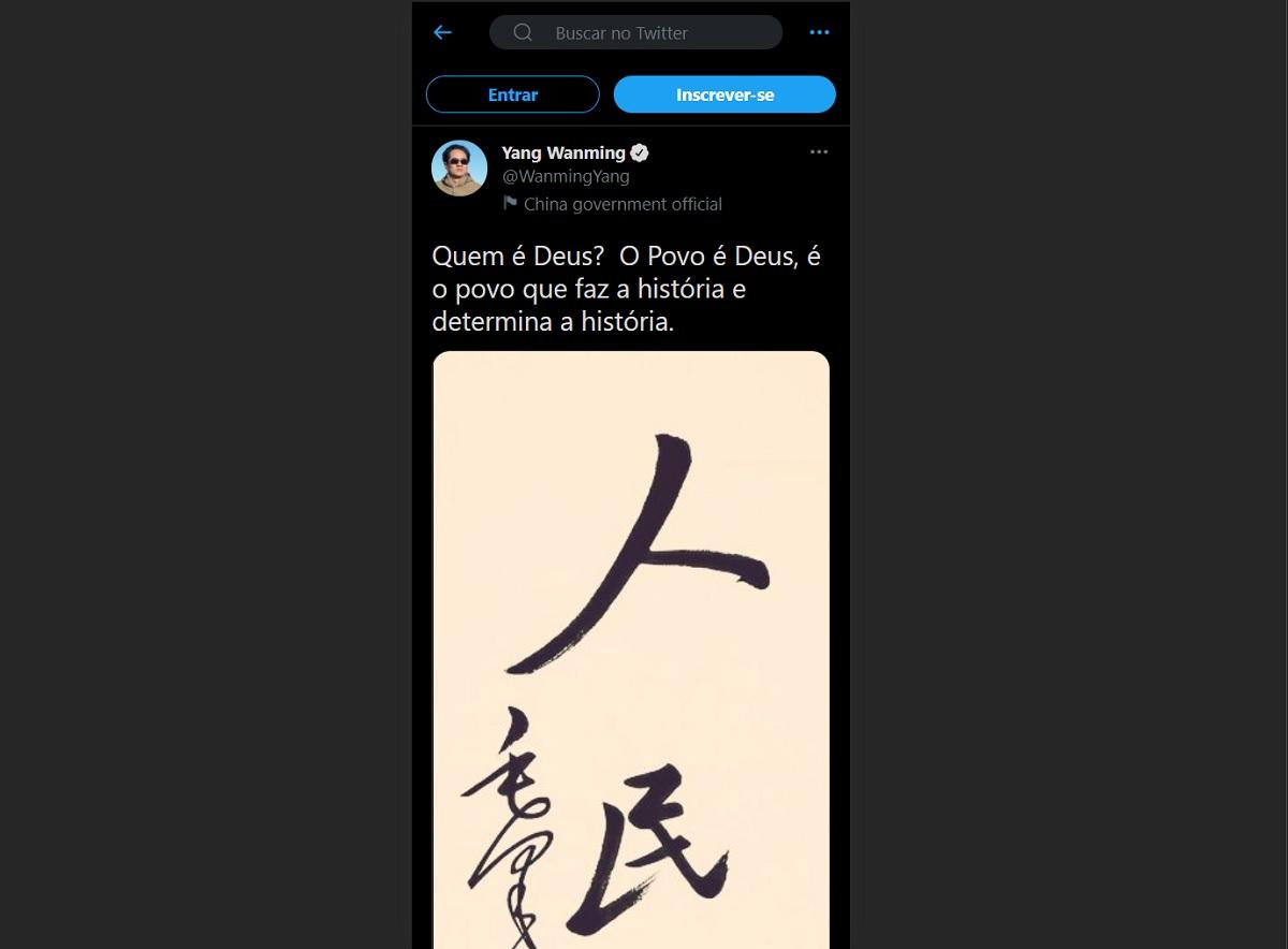 Tuíte de embaixador da China gera discussão sobre religião