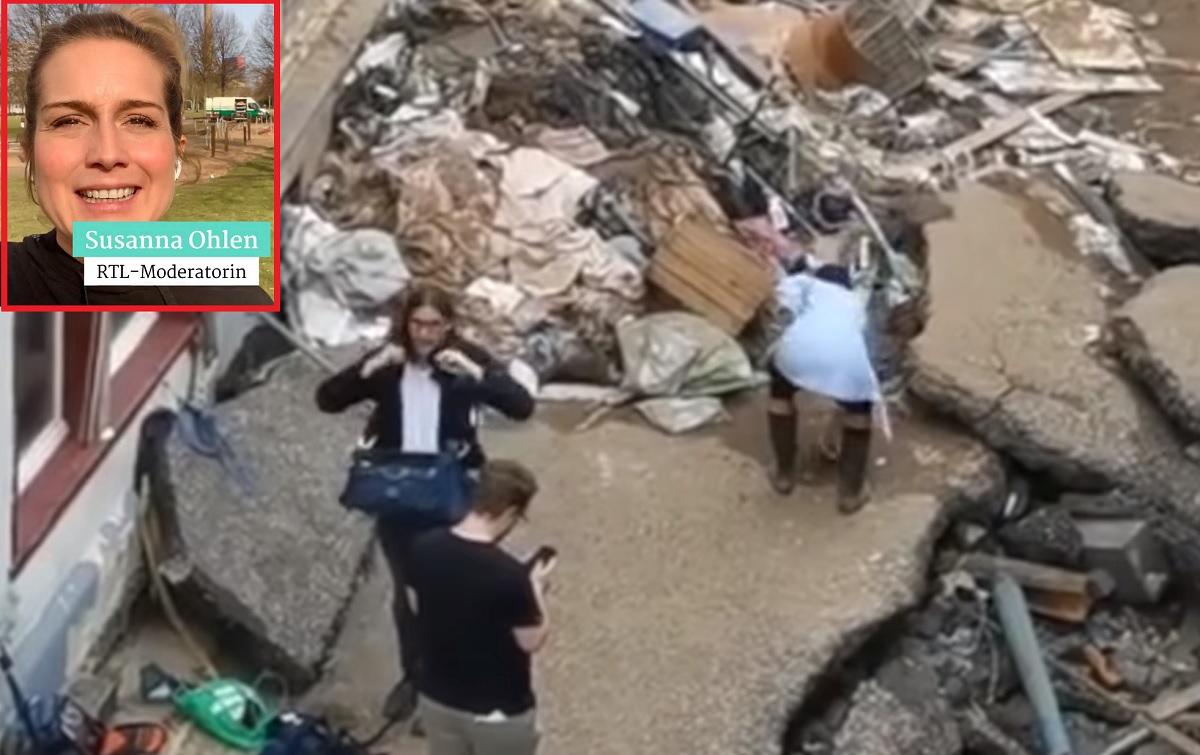 Vídeo: repórter finge ter ajudado as vítimas das enchentes na Alemanha