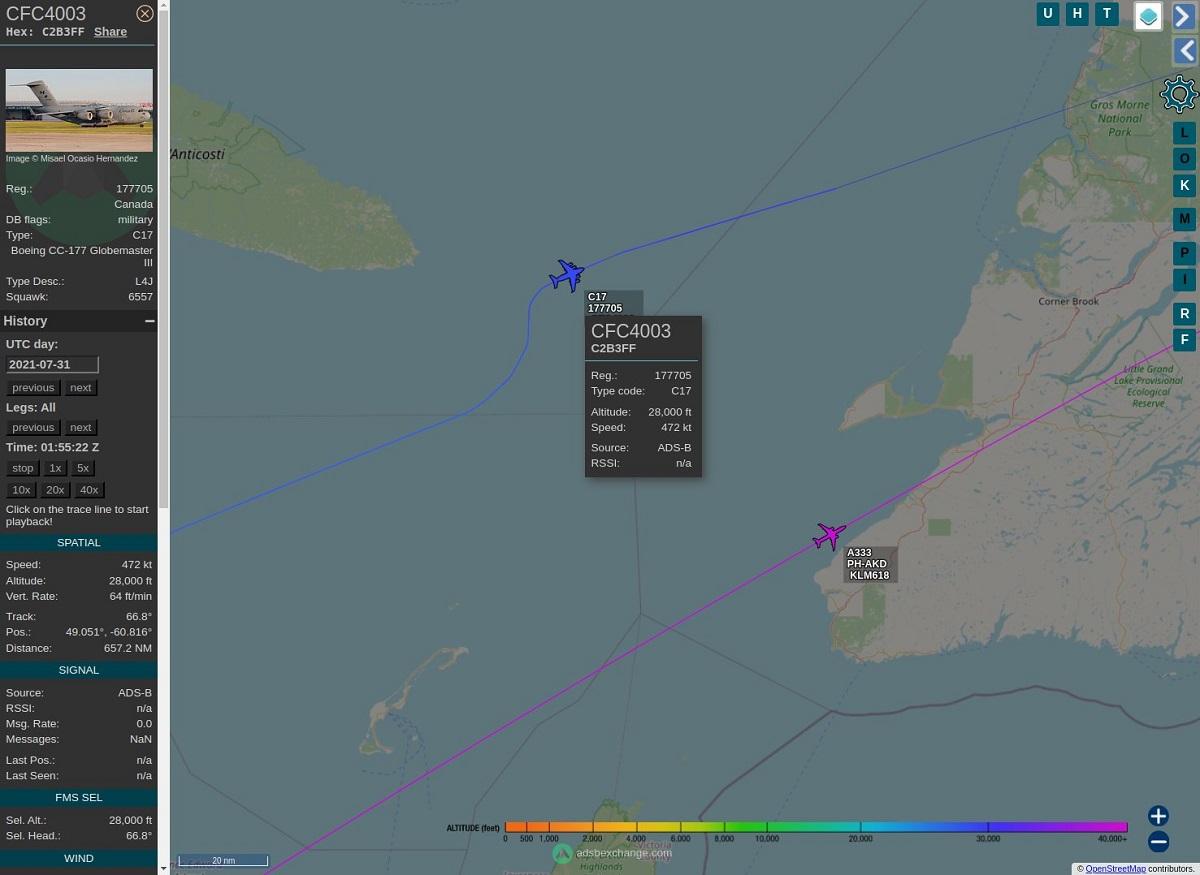 Dois aviões avistaram um óvni na costa leste do Canadá