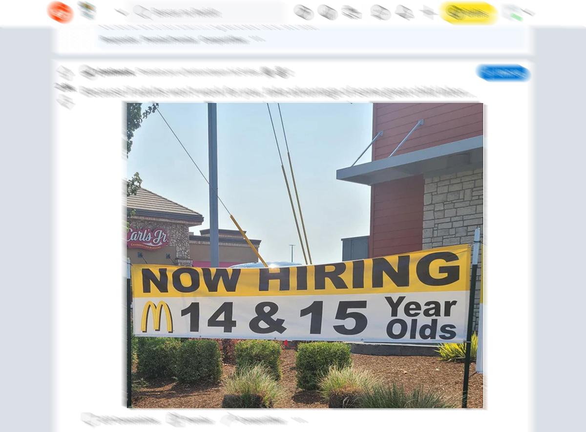 Franquia do McDonald's nos EUA contrata crianças de 14 e 15 anos