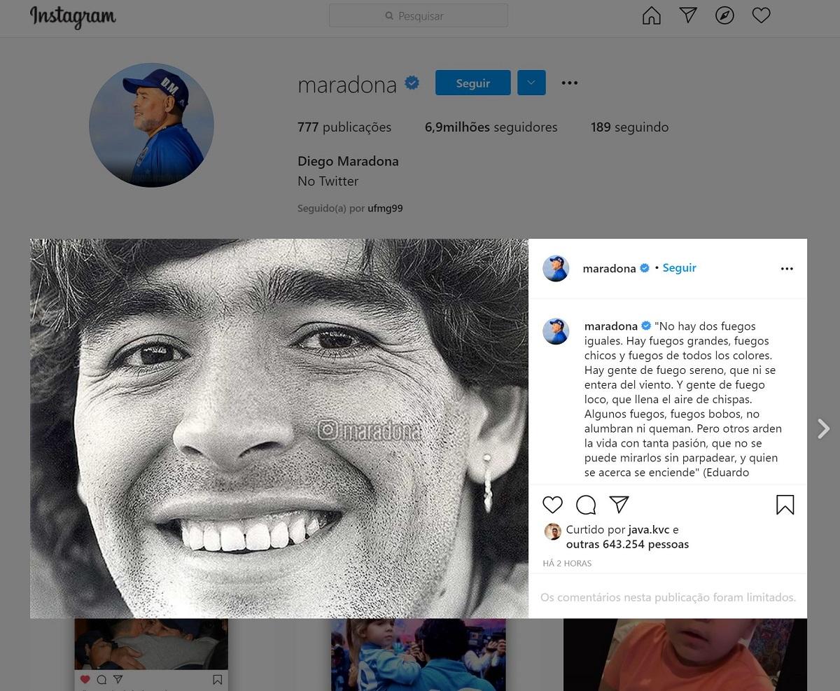 Para surpresa dos fãs, rede social do Maradona é reativada