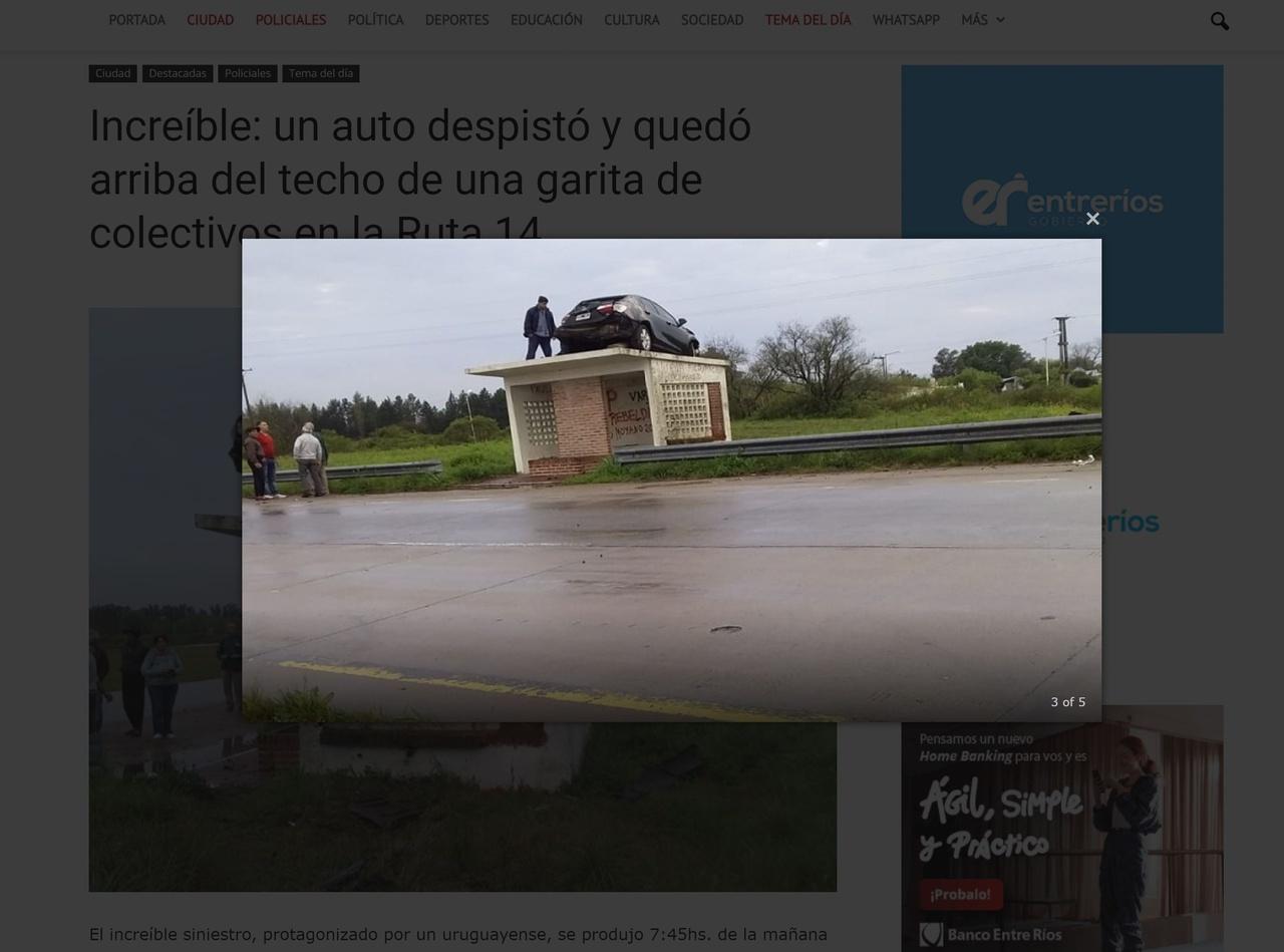BIZARRO: após batida, veículo para em cima de ponto de ônibus na Argentina